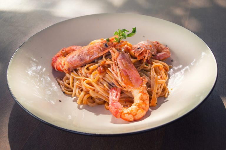Spaghetti Carbonara With Lobster Toppings