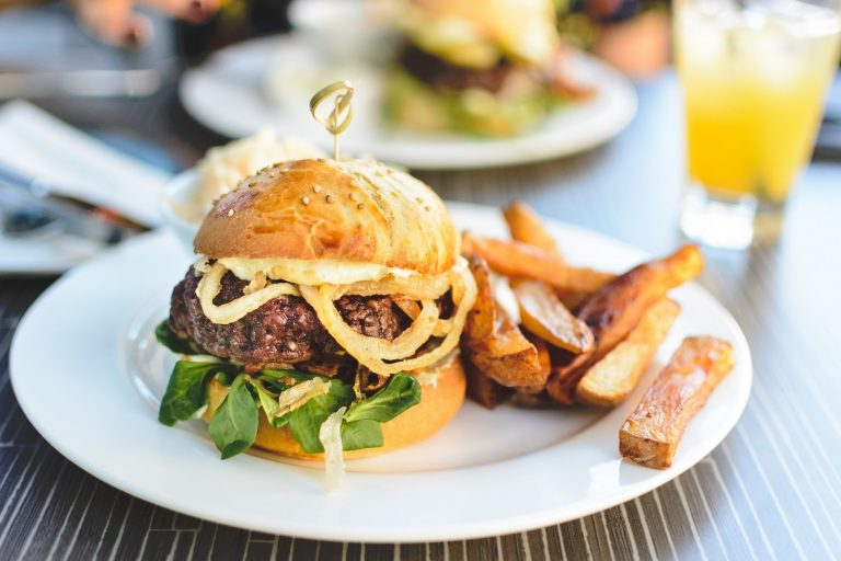 Spicy Grilled Burger With Fried Onions